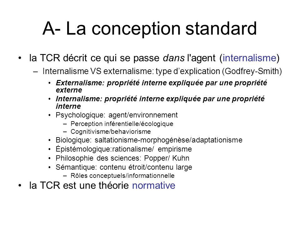 A- La conception standard la TCR décrit ce qui se passe dans l'agent (internalisme) –Internalisme VS externalisme: type dexplication (Godfrey-Smith) E