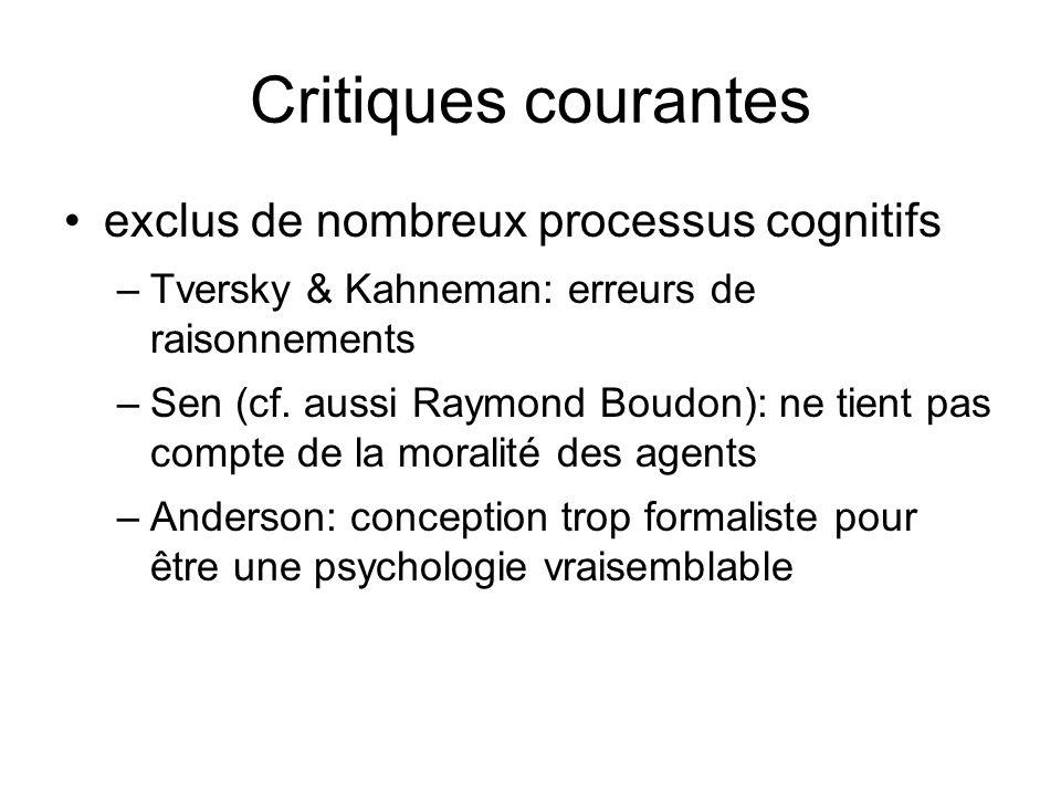 Critiques courantes exclus de nombreux processus cognitifs –Tversky & Kahneman: erreurs de raisonnements –Sen (cf. aussi Raymond Boudon): ne tient pas