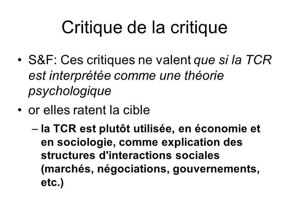 Critique de la critique S&F: Ces critiques ne valent que si la TCR est interprétée comme une théorie psychologique or elles ratent la cible –la TCR es