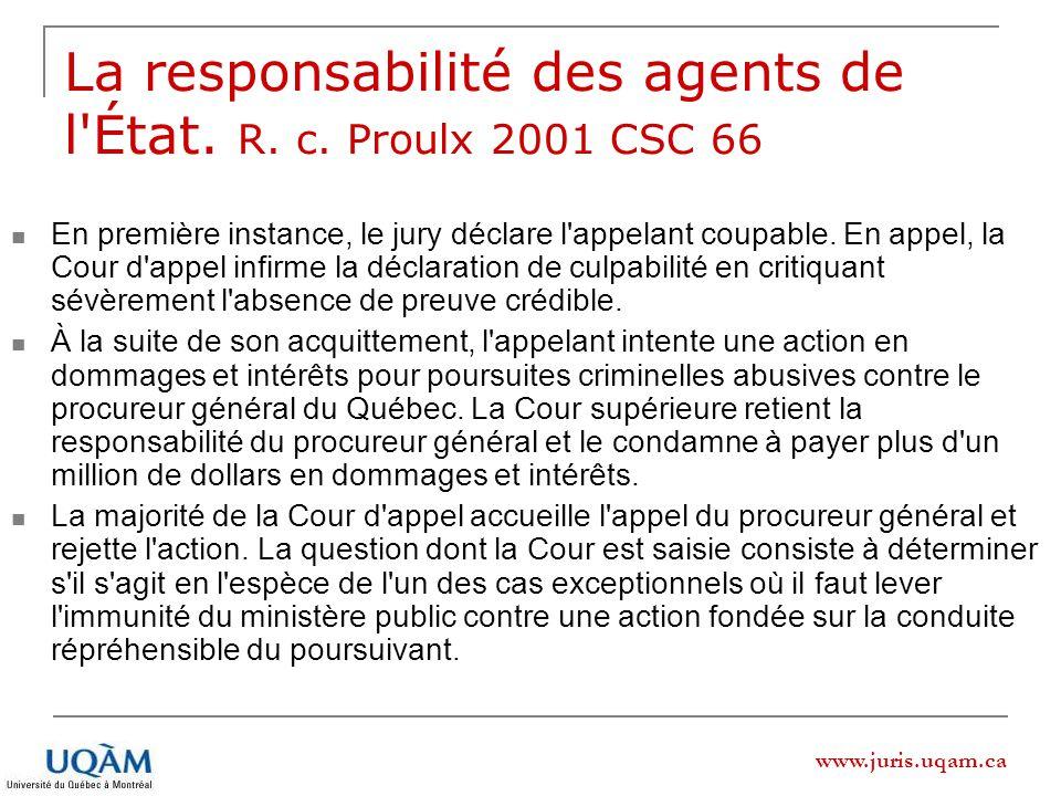 www.juris.uqam.ca La responsabilité des agents de l État.