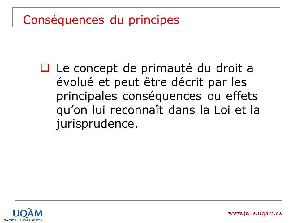 www.juris.uqam.ca Conséquences du principes Le concept de primauté du droit a évolué et peut être décrit par les principales conséquences ou effets quon lui reconnaît dans la Loi et la jurisprudence.
