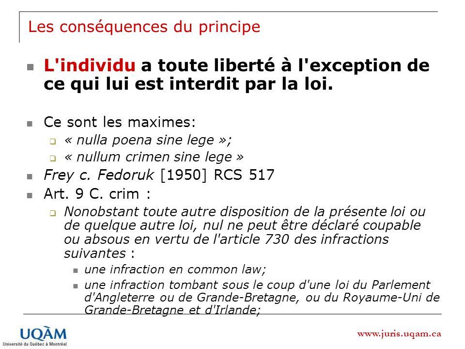 www.juris.uqam.ca Les conséquences du principe L individu a toute liberté à l exception de ce qui lui est interdit par la loi.
