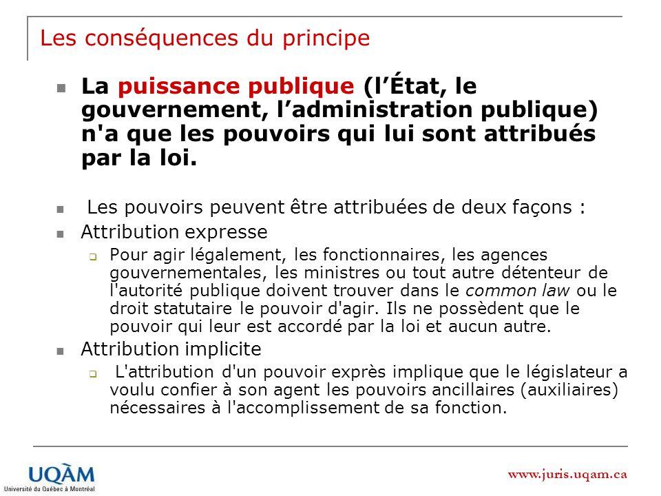 www.juris.uqam.ca Les conséquences du principe La puissance publique (lÉtat, le gouvernement, ladministration publique) n a que les pouvoirs qui lui sont attribués par la loi.