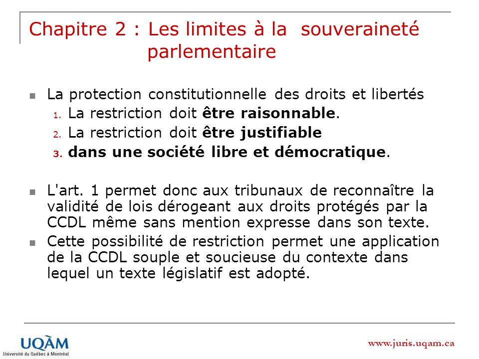 www.juris.uqam.ca Chapitre 2 : Les limites à la souveraineté parlementaire La protection constitutionnelle des droits et libertés 1. La restriction do