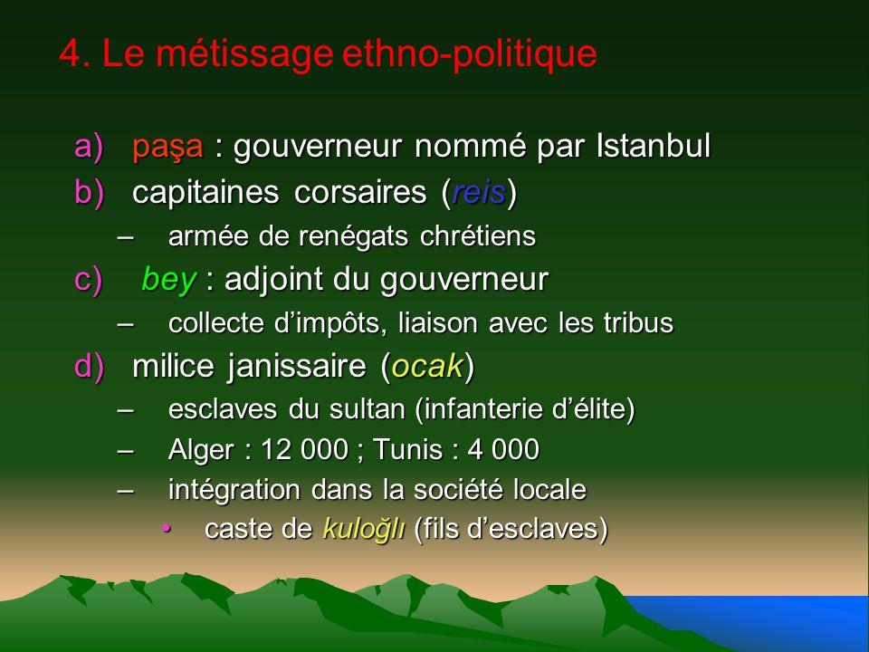 4. Le métissage ethno-politique a)paşa : gouverneur nommé par Istanbul b)capitaines corsaires (reis) –armée de renégats chrétiens c) bey : adjoint du