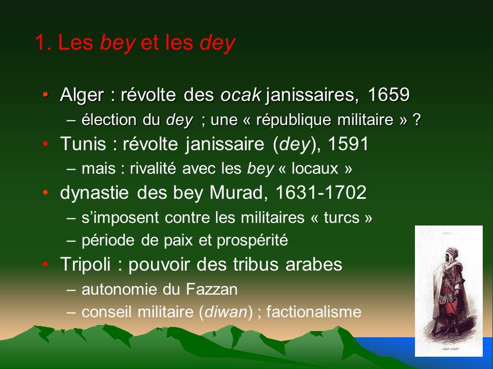 1. Les bey et les dey Alger : révolte des ocak janissaires, 1659Alger : révolte des ocak janissaires, 1659 –élection du dey ; une « république militai