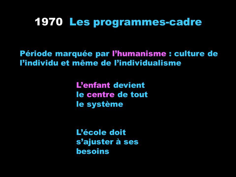 1970 Les programmes-cadre Période marquée par lhumanisme : culture de lindividu et même de lindividualisme Lenfant devient le centre de tout le systèm