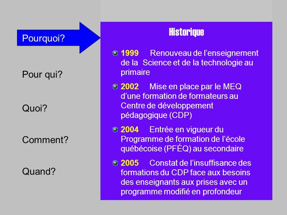 Pour qui? Quoi? Comment? Quand? Pourquoi? P RESTÎM Historique 1999 Renouveau de lenseignement de la Science et de la technologie au primaire 2002 Mise