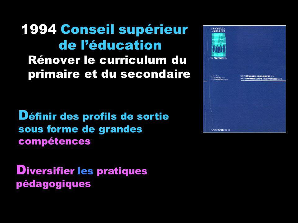 1994 Conseil supérieur de léducation Rénover le curriculum du primaire et du secondaire D iversifier les pratiques pédagogiques D éfinir des profils d