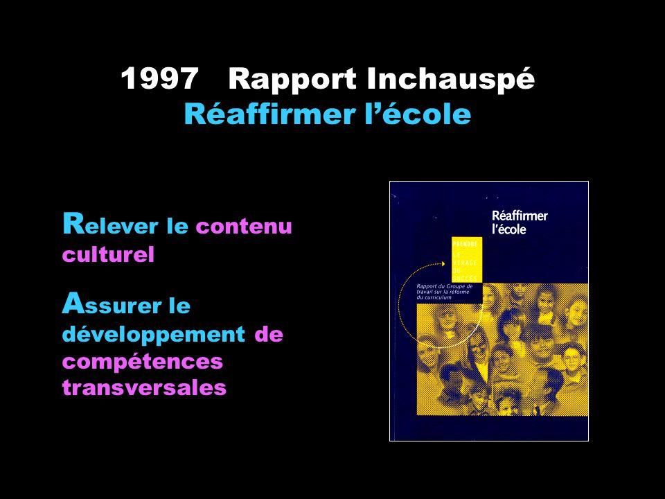 1997 Rapport Inchauspé Réaffirmer lécole R elever le contenu culturel A ssurer le développement de compétences transversales