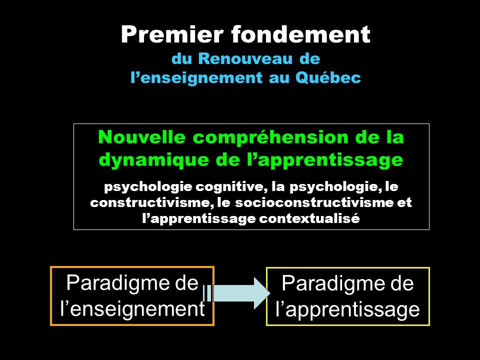Premier fondement du Renouveau de lenseignement au Québec Paradigme de lenseignement Paradigme de lapprentissage Nouvelle compréhension de la dynamiqu