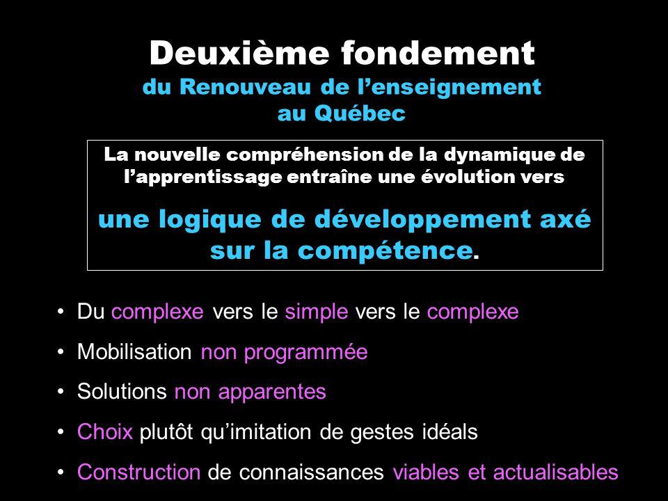 Deuxième fondement du Renouveau de lenseignement au Québec La nouvelle compréhension de la dynamique de lapprentissage entraîne une évolution vers une