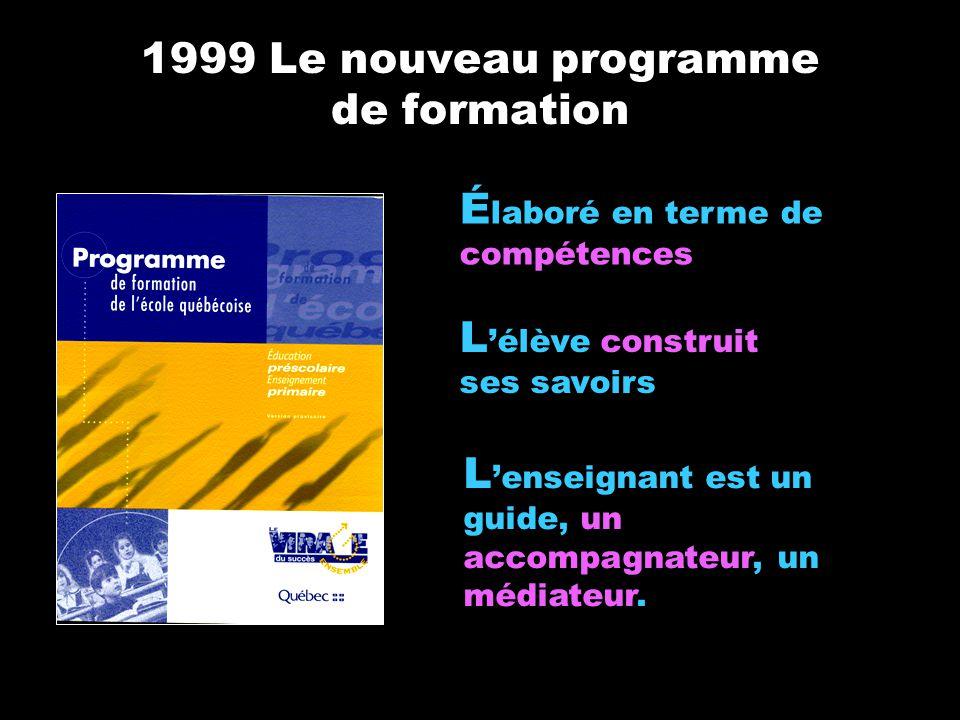 1999 Le nouveau programme de formation L élève construit ses savoirs L enseignant est un guide, un accompagnateur, un médiateur. É laboré en terme de