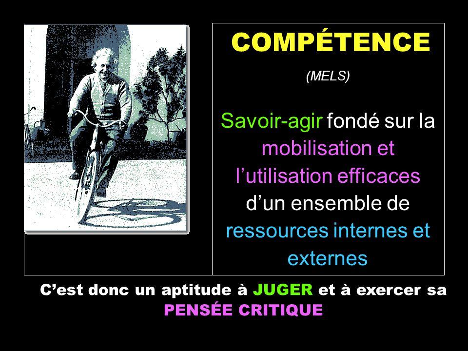 COMPÉTENCE (MELS) Savoir-agir fondé sur la mobilisation et lutilisation efficaces dun ensemble de ressources internes et externes Cest donc un aptitud