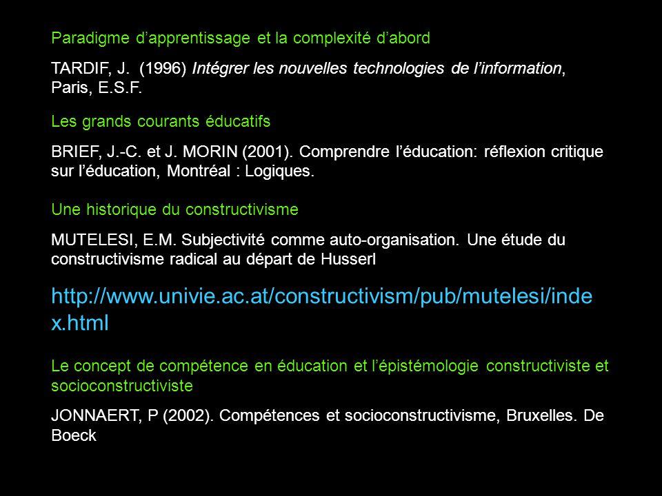 Paradigme dapprentissage et la complexité dabord TARDIF, J. (1996) Intégrer les nouvelles technologies de linformation, Paris, E.S.F. Les grands coura