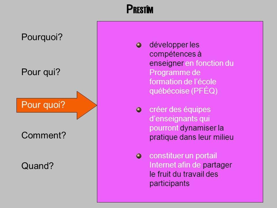 Pour qui? Pour quoi? Comment? Quand? Pourquoi? développer les compétences à enseigner en fonction du Programme de formation de lécole québécoise (PFÉQ