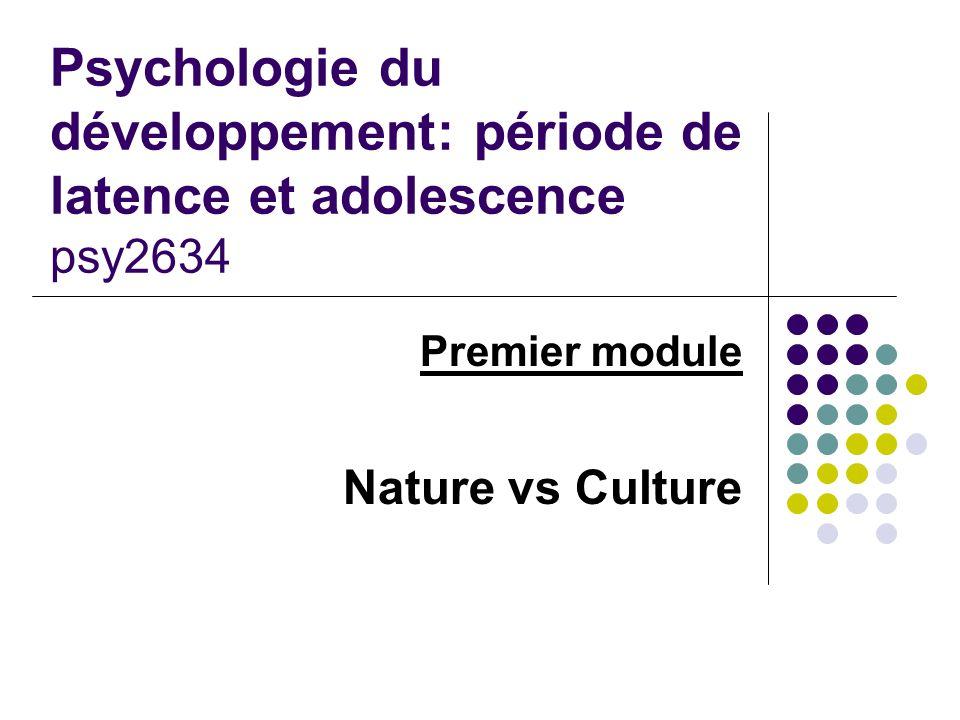 Psychologie du développement: période de latence et adolescence psy2634 Premier module Nature vs Culture