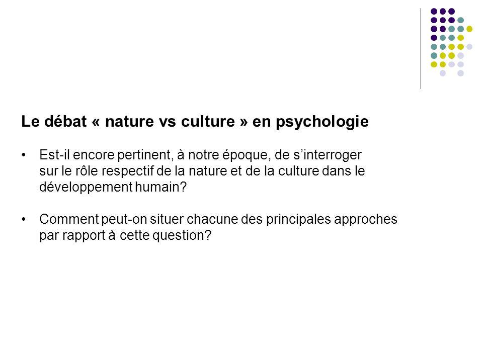 Le débat « nature vs culture » en psychologie Est-il encore pertinent, à notre époque, de sinterroger sur le rôle respectif de la nature et de la cult