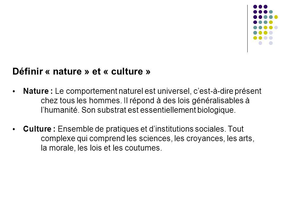 Définir « nature » et « culture » Nature : Le comportement naturel est universel, cest-à-dire présent chez tous les hommes. Il répond à des lois génér