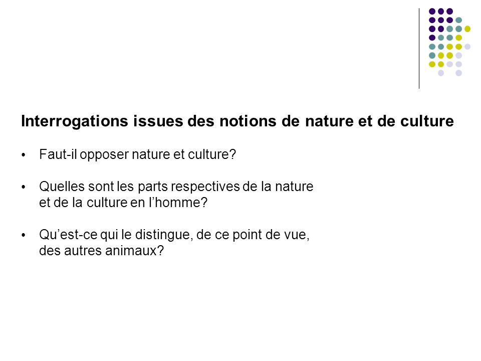 Interrogations issues des notions de nature et de culture Faut-il opposer nature et culture? Quelles sont les parts respectives de la nature et de la