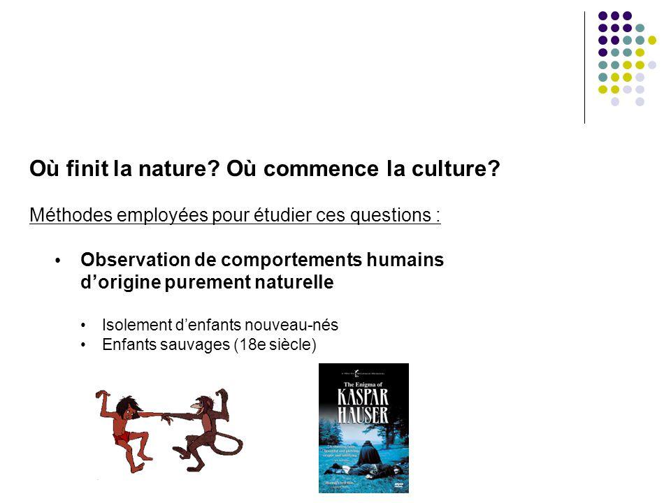 Où finit la nature? Où commence la culture? Méthodes employées pour étudier ces questions : Observation de comportements humains dorigine purement nat