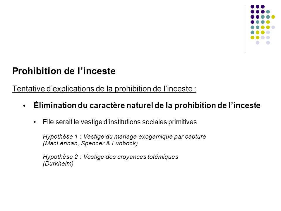 Prohibition de linceste Tentative dexplications de la prohibition de linceste : Élimination du caractère naturel de la prohibition de linceste Elle se