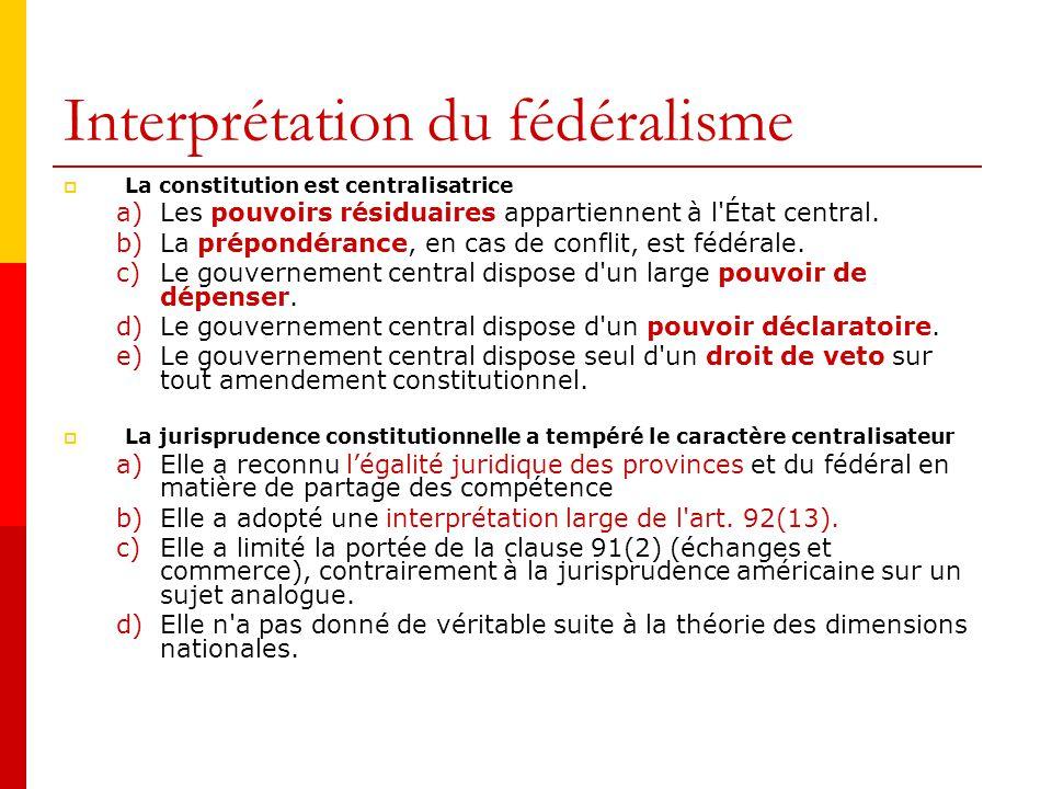 Interprétation du fédéralisme Les lois partiellement inconstitutionnelles sont divisibles. Cest à dire que seuls les articles déclarés inconstitutionn