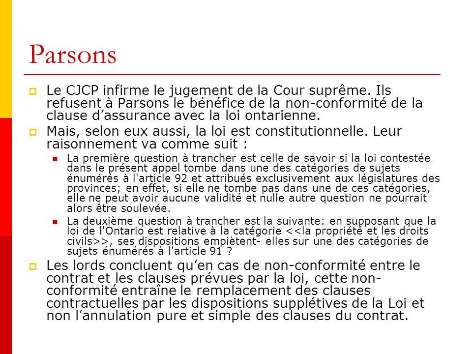 Parsons Le CJCP infirme le jugement de la Cour suprême.
