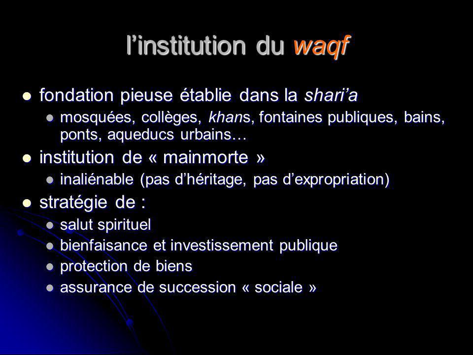 linstitution du waqf fondation pieuse établie dans la sharia fondation pieuse établie dans la sharia mosquées, collèges, khans, fontaines publiques, b