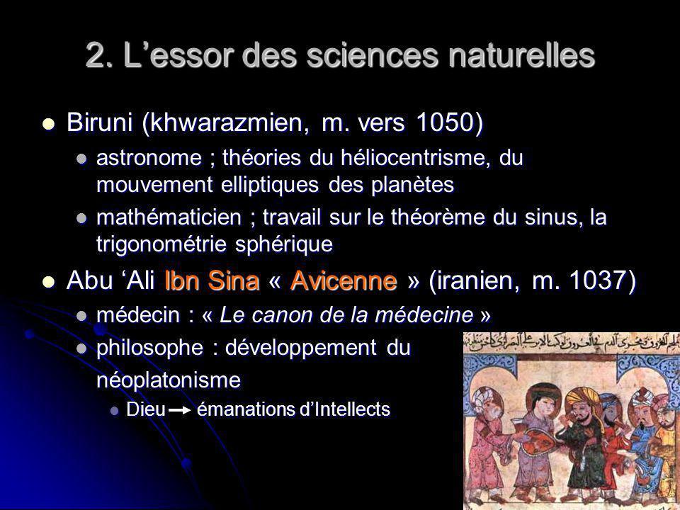 2. Lessor des sciences naturelles Biruni (khwarazmien, m. vers 1050) Biruni (khwarazmien, m. vers 1050) astronome ; théories du héliocentrisme, du mou