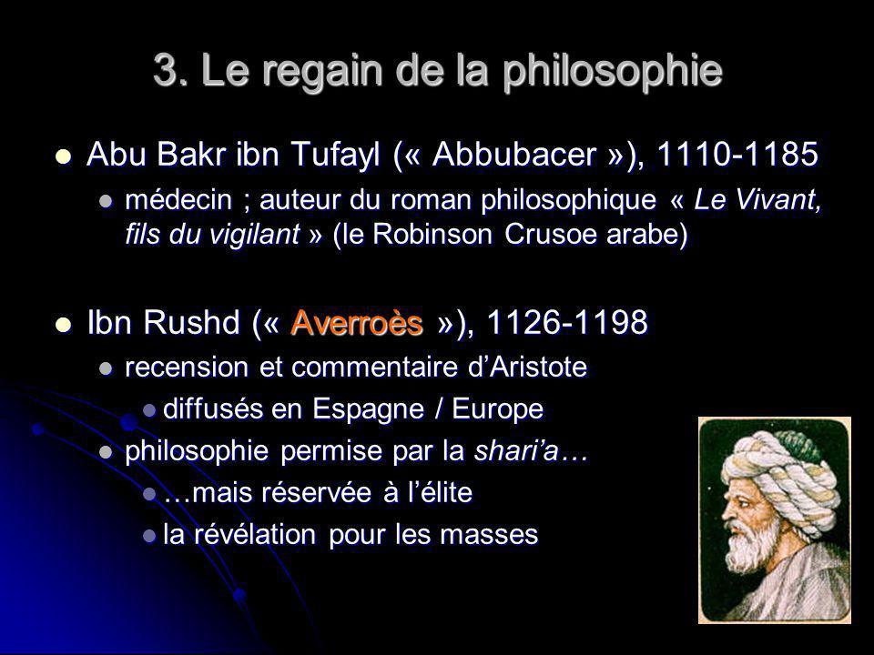 3. Le regain de la philosophie Abu Bakr ibn Tufayl (« Abbubacer »), 1110-1185 Abu Bakr ibn Tufayl (« Abbubacer »), 1110-1185 médecin ; auteur du roman