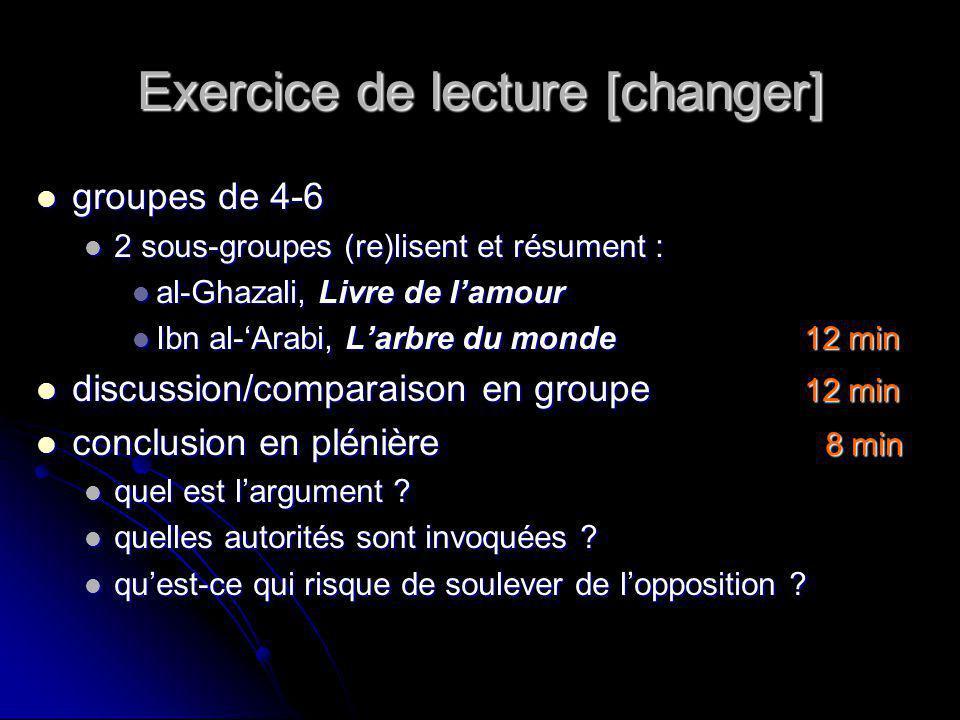Exercice de lecture [changer] groupes de 4-6 groupes de 4-6 2 sous-groupes (re)lisent et résument : 2 sous-groupes (re)lisent et résument : al-Ghazali