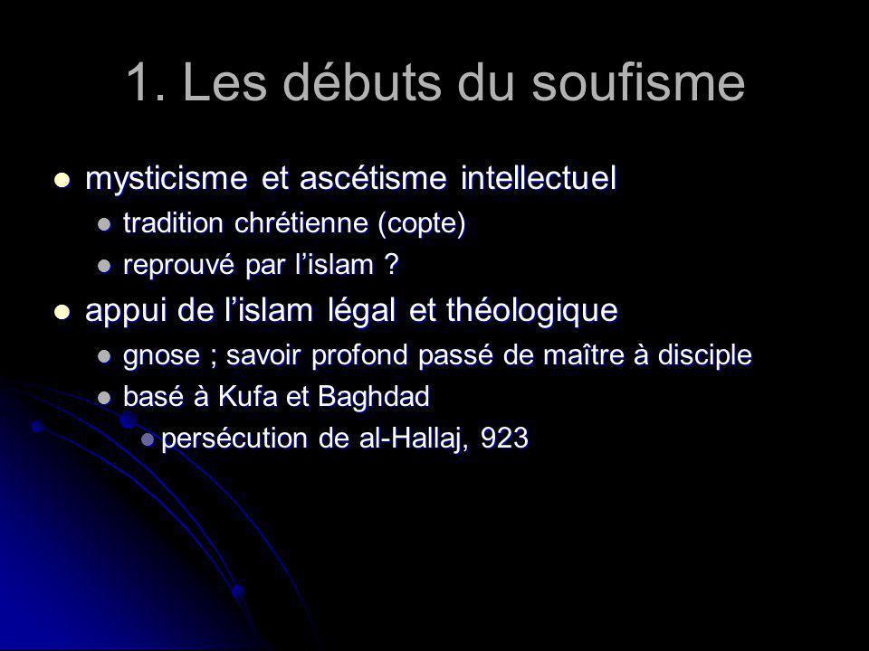 1. Les débuts du soufisme mysticisme et ascétisme intellectuel mysticisme et ascétisme intellectuel tradition chrétienne (copte) tradition chrétienne