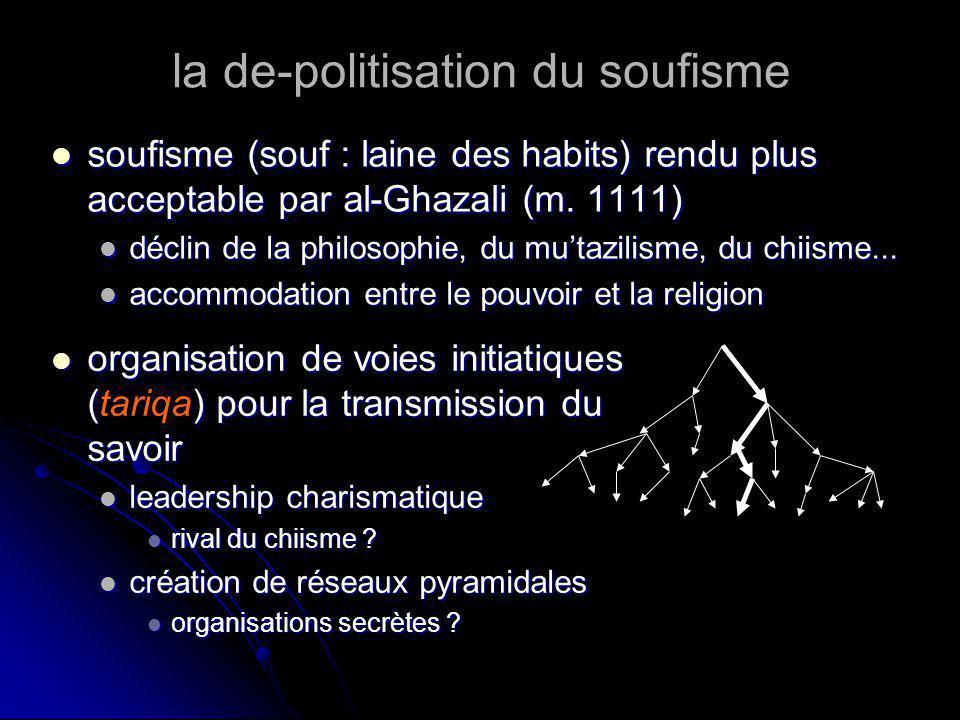 la de-politisation du soufisme soufisme (souf : laine des habits) rendu plus acceptable par al-Ghazali (m. 1111) soufisme (souf : laine des habits) re