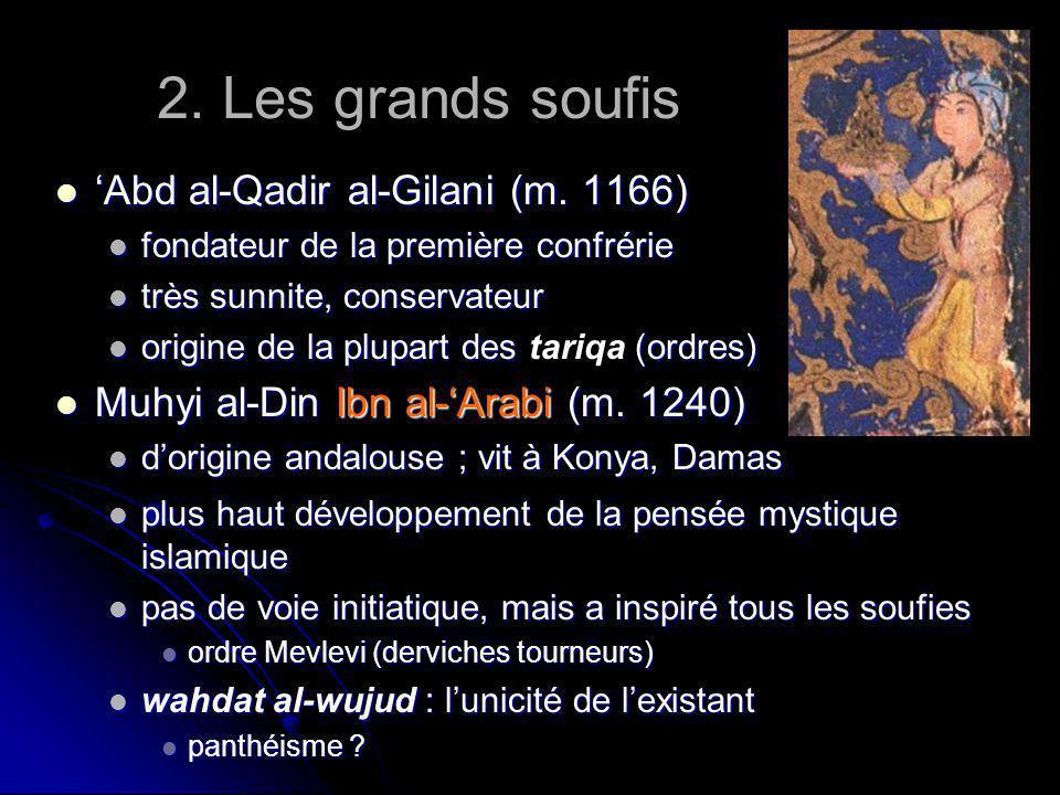 2. Les grands soufis Abd al-Qadir al-Gilani (m. 1166) Abd al-Qadir al-Gilani (m. 1166) fondateur de la première confrérie fondateur de la première con