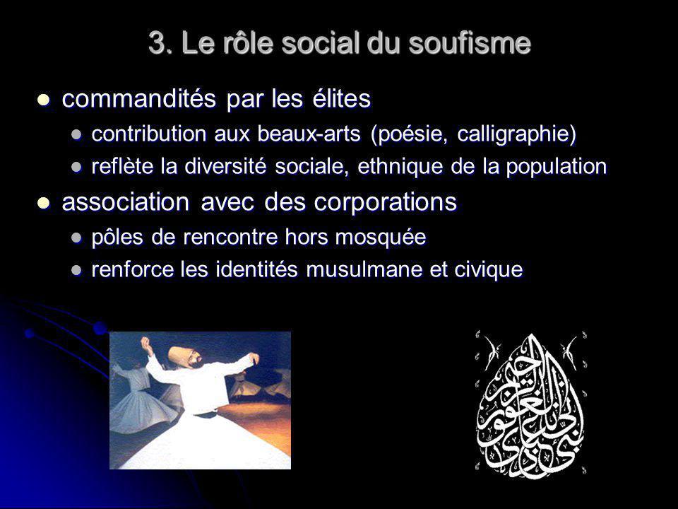 3. Le rôle social du soufisme commandités par les élites commandités par les élites contribution aux beaux-arts (poésie, calligraphie) contribution au