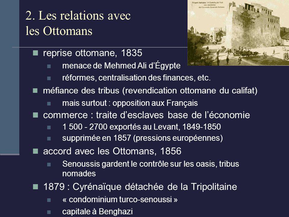 2. Les relations avec les Ottomans reprise ottomane, 1835 menace de Mehmed Ali dÉgypte réformes, centralisation des finances, etc. méfiance des tribus