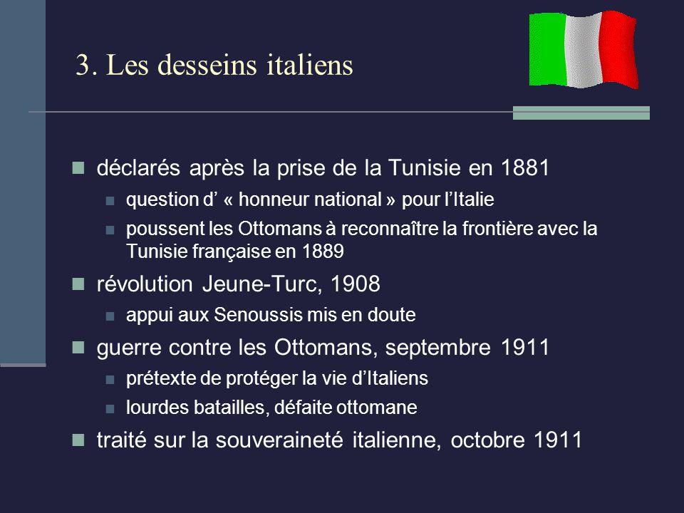 3. Les desseins italiens déclarés après la prise de la Tunisie en 1881 question d « honneur national » pour lItalie poussent les Ottomans à reconnaîtr
