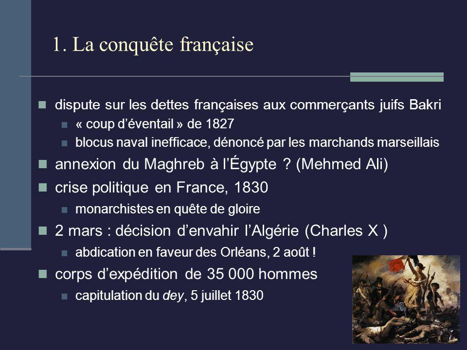 1. La conquête française dispute sur les dettes françaises aux commerçants juifs Bakri « coup déventail » de 1827 blocus naval inefficace, dénoncé par