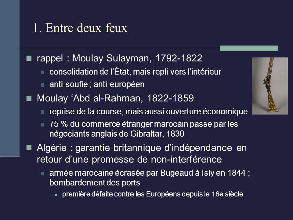 1. Entre deux feux rappel : Moulay Sulayman, 1792-1822 consolidation de lÉtat, mais repli vers lintérieur anti-soufie ; anti-européen Moulay Abd al-Ra