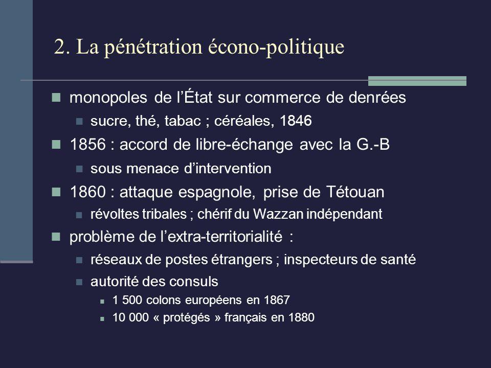2. La pénétration écono-politique monopoles de lÉtat sur commerce de denrées sucre, thé, tabac ; céréales, 1846 1856 : accord de libre-échange avec la