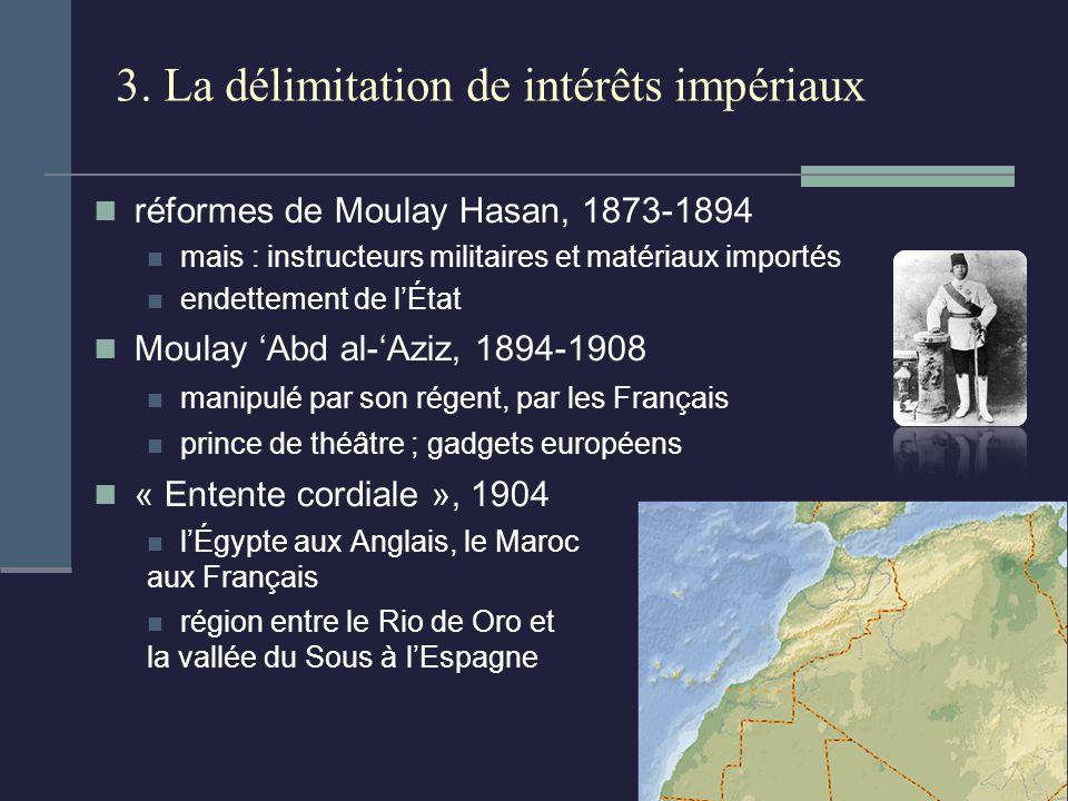 3. La délimitation de intérêts impériaux réformes de Moulay Hasan, 1873-1894 mais : instructeurs militaires et matériaux importés endettement de lÉtat