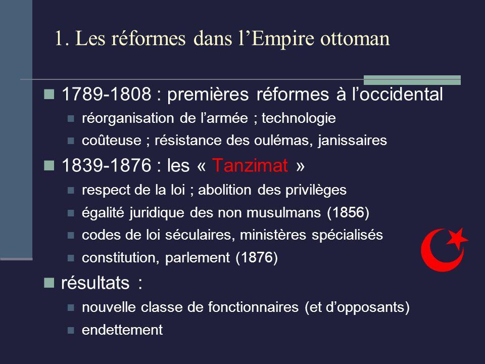 1. Les réformes dans lEmpire ottoman 1789-1808 : premières réformes à loccidental réorganisation de larmée ; technologie coûteuse ; résistance des oul