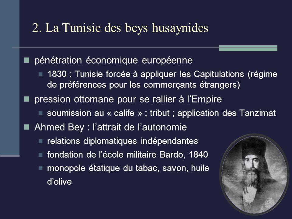 2. La Tunisie des beys husaynides pénétration économique européenne 1830 : Tunisie forcée à appliquer les Capitulations (régime de préférences pour le