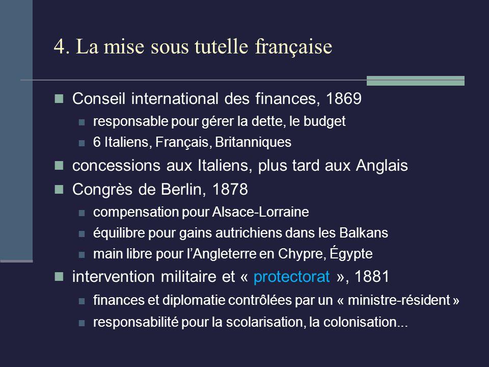 4. La mise sous tutelle française Conseil international des finances, 1869 responsable pour gérer la dette, le budget 6 Italiens, Français, Britanniqu