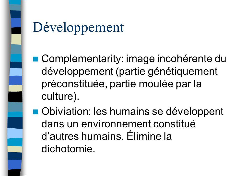 Développement Complementarity: image incohérente du développement (partie génétiquement préconstituée, partie moulée par la culture).