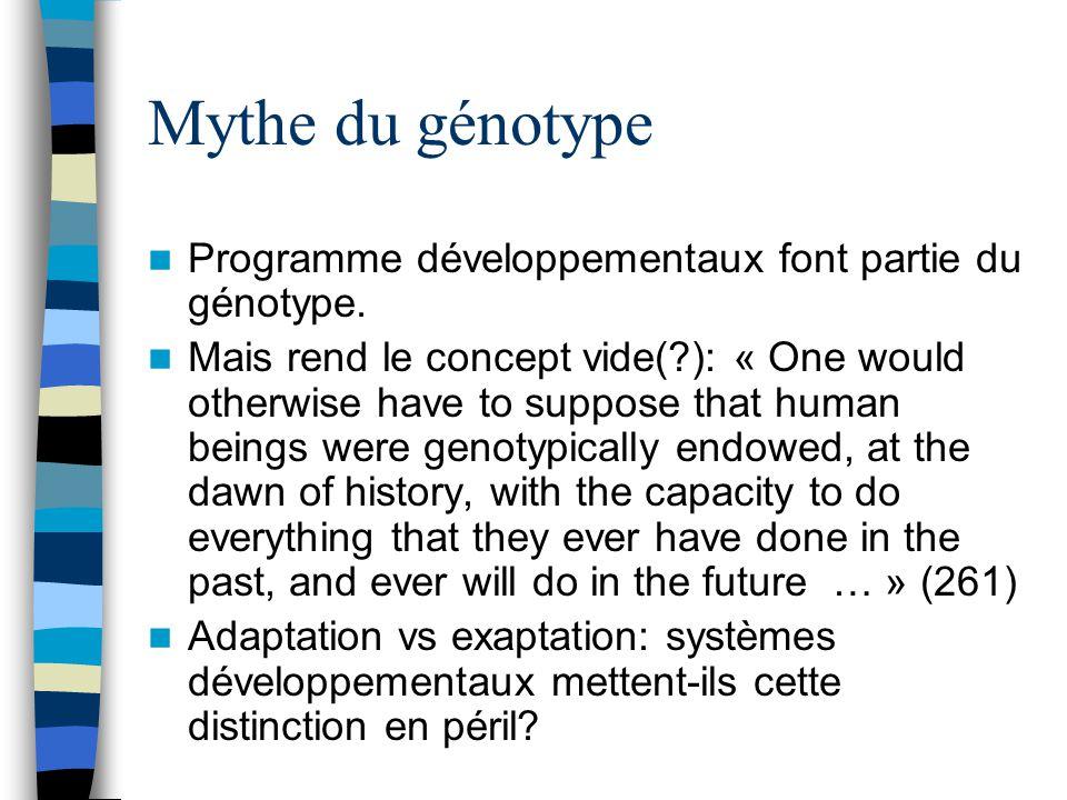 Mythe du génotype Programme développementaux font partie du génotype.
