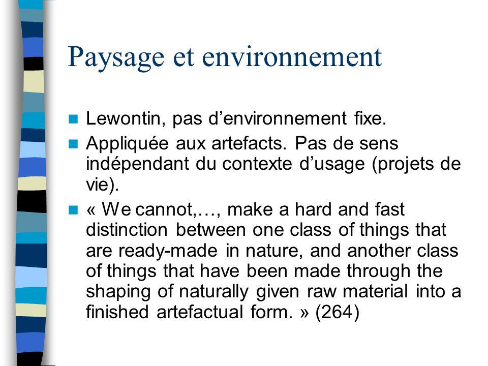 Paysage et environnement Lewontin, pas denvironnement fixe.
