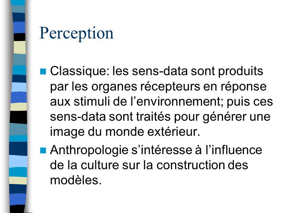 Perception Classique: les sens-data sont produits par les organes récepteurs en réponse aux stimuli de lenvironnement; puis ces sens-data sont traités pour générer une image du monde extérieur.