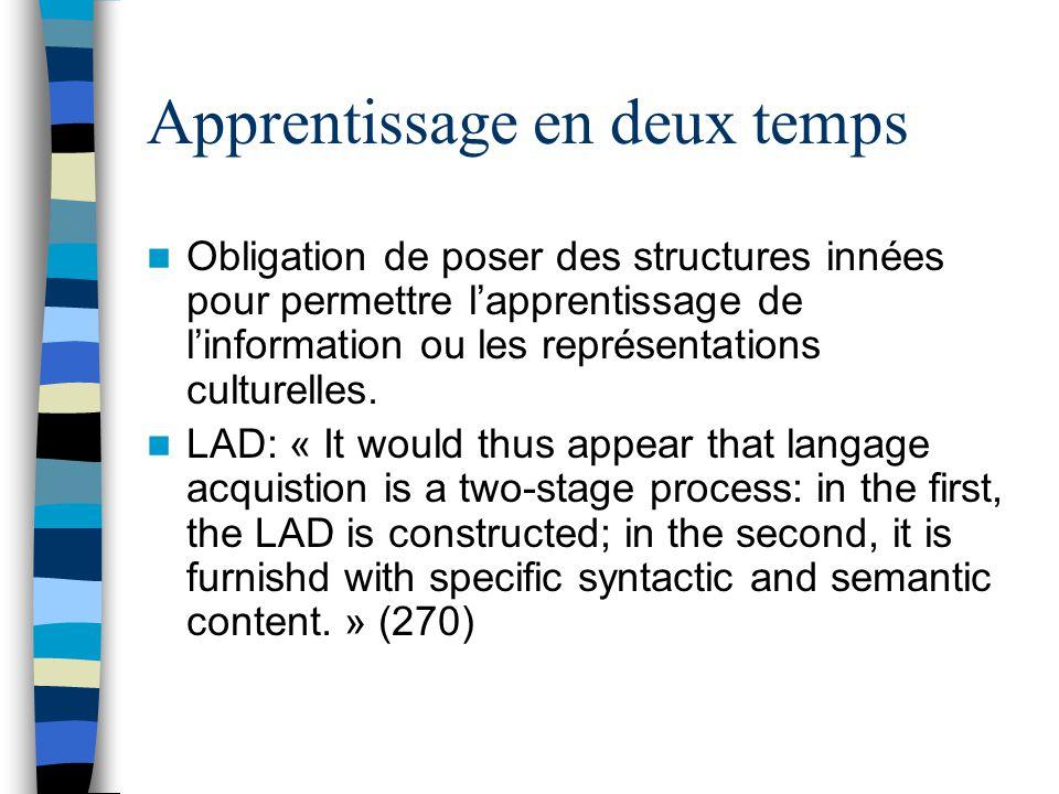 Apprentissage en deux temps Obligation de poser des structures innées pour permettre lapprentissage de linformation ou les représentations culturelles.